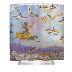 Red Shoes With Messengers Shower Curtain
