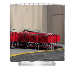 Red Shopping Carts In A Row Shower Curtain by Merrimon Crawford