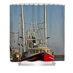 Red Shrimp Boat Shower Curtain by Christopher Holmes