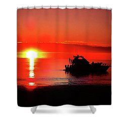 Red Silhouette Shower Curtain by Douglas Barnard