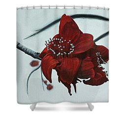 Red Silk Cotton Flower Shower Curtain
