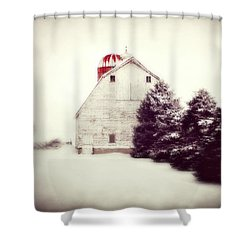 Red Silo Shower Curtain