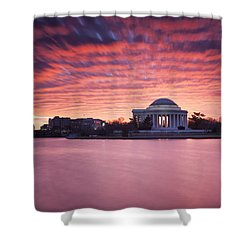 Shower Curtain featuring the photograph Red Skies At Dawn by Edward Kreis
