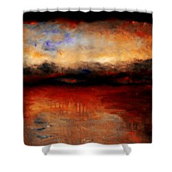 Red Skies At Night Shower Curtain by Michelle Calkins