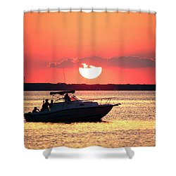 Red Sky At Long Beach Island Shower Curtain