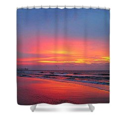 Red Sky At Morning Shower Curtain by Betty Buller Whitehead