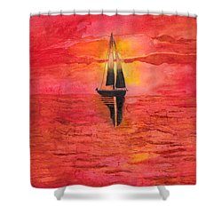 Red Sky At Night Sailors Delight Watercolor Shower Curtain