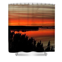 Red Sky On The Illinois River Shower Curtain