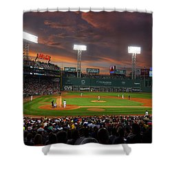 Red Sky Over Fenway Park Shower Curtain