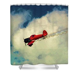 Red Sky Writer Shower Curtain by Trey Foerster