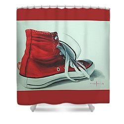 Red Sneakers Shower Curtain by Nolan Clark
