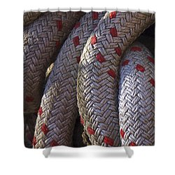 Red Speckled Rope Shower Curtain