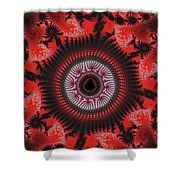 Red Spiral Infinity Shower Curtain
