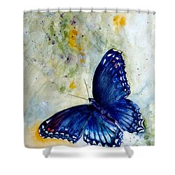 Red Spotted Purple 1 Shower Curtain by Beverley Harper Tinsley