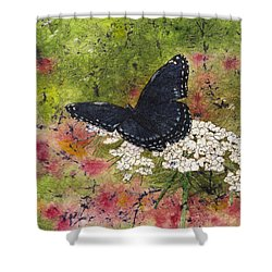 Red Spotted Purple Butterfly Queen Annes Lace Batik Shower Curtain