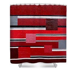 Red Square Shower Curtain by Tara Hutton