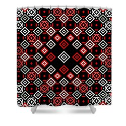Red Squared Shower Curtain