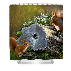 Red Squirrels Shower Curtain by Thanh Thuy Nguyen