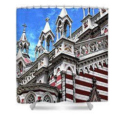 Red Striped In Bogota Shower Curtain by John Rizzuto