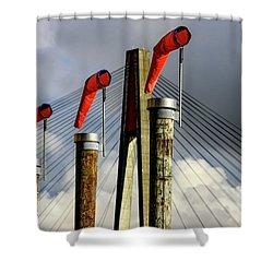Red Subject Shower Curtain by Menachem Ganon