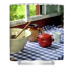 Red Sugar Bowl Shower Curtain