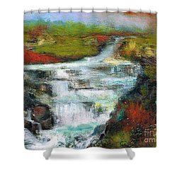 Shower Curtain featuring the painting Yellow Fields With Red Sumac by Frances Marino