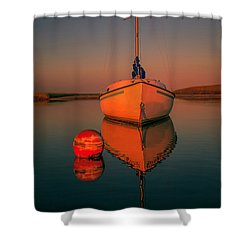 Red Sunrise Reflections On Sailboat Shower Curtain by Dapixara Art