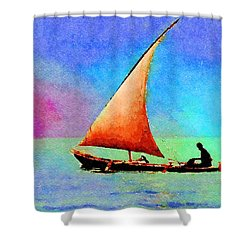 Shower Curtain featuring the painting Red Sunset by Angela Treat Lyon