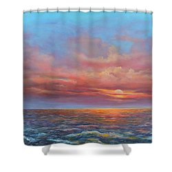 Shower Curtain featuring the painting Red Sunset At Sea by Katalin Luczay
