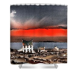 Red Sunset On Bungowla, Aran, Galway Shower Curtain