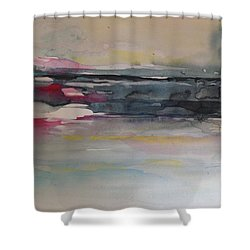Red Sunset On The Lake Abstract Shower Curtain