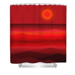 Red Sunset Shower Curtain by Val Arie