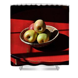 Red Table Apple Still Life Shower Curtain