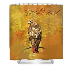 Shower Curtain featuring the photograph Red-tailed Hawk Watercolor Photo by Heidi Hermes