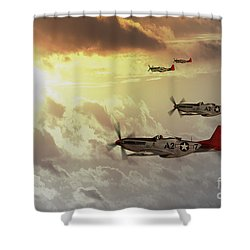 Red Tails Shower Curtain by J Biggadike