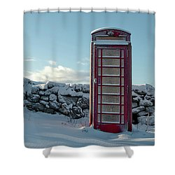Red Telephone Box In The Snow IIi Shower Curtain