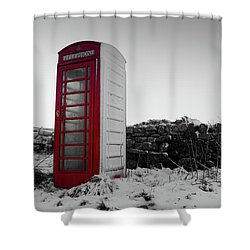 Red Telephone Box In The Snow Vi Shower Curtain