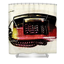Hot Red Phone Shower Curtain by Susan Stone