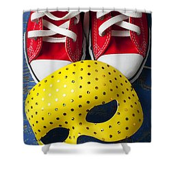 Red Tennis Shoes And Mask Shower Curtain by Garry Gay