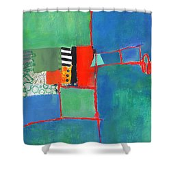 Shower Curtain featuring the mixed media Red Thread by Elena Nosyreva