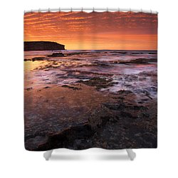 Red Tides Shower Curtain by Mike  Dawson