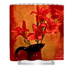 Red Tigerlilies In A Pitcher Shower Curtain