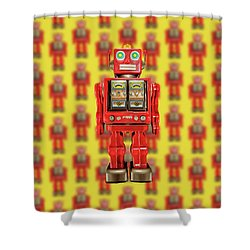 Red Tin Toy Robot Pattern Shower Curtain by YoPedro