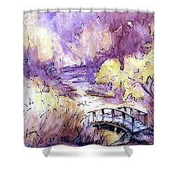 Shower Curtain featuring the painting Red Top Mountain Bridge by Gretchen Allen
