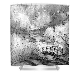 Red Top Mountain Bridge In Black And White Shower Curtain by Gretchen Allen