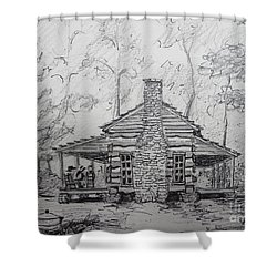 Shower Curtain featuring the painting Red Top Mountain's Log Cabin by Gretchen Allen
