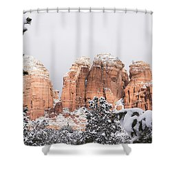 Red Towers Under Snow Shower Curtain