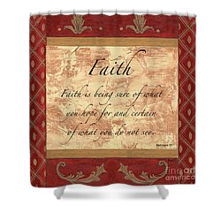 Red Traditional Faith Shower Curtain by Debbie DeWitt