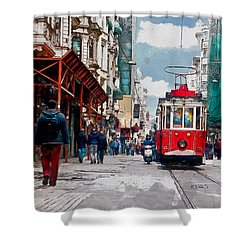 Red Tram Shower Curtain