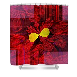 Red Transparency Shower Curtain by Thibault Toussaint